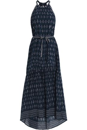 JOIE Belted printed silk-crepe maxi dress