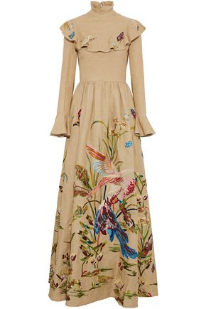 VALENTINO Ruffled embroidered linen maxi dress