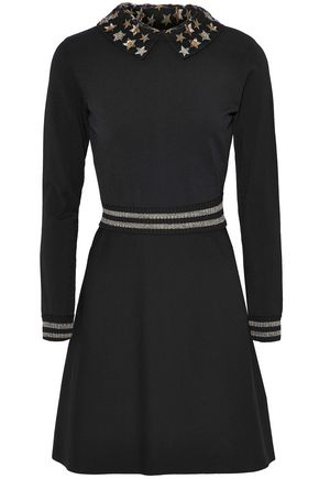VALENTINO Embellished metallic-trimmed stretch-knit mini dress