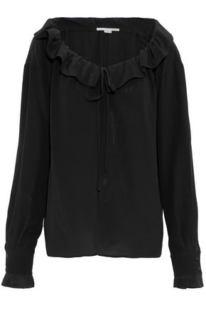 STELLA McCARTNEY Tie-front ruffle-trimmed silk-crepe blouse