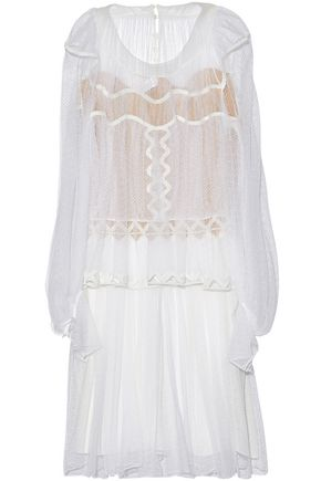 CHLOÉ Chiffon-paneled layered pleated lace dress