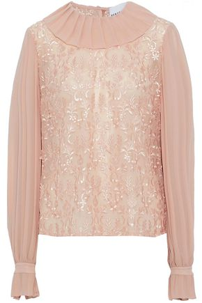 PERSEVERANCE Pleated paneled floral-appliquéd chiffon blouse