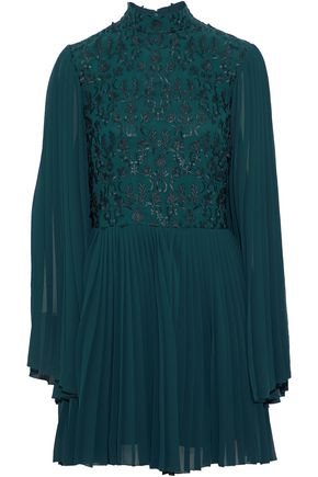 Embroidered Pleated Crepe Mini Dress by Perseverance