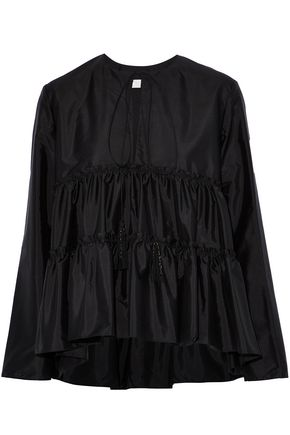CHLOÉ Tasseled gathered silk-satin blouse
