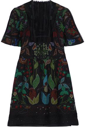 VALENTINO Tulle-paneled lace-trimmed printed silk mini dress