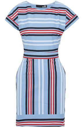 LOVE MOSCHINO Striped cotton-blend twill mini dress