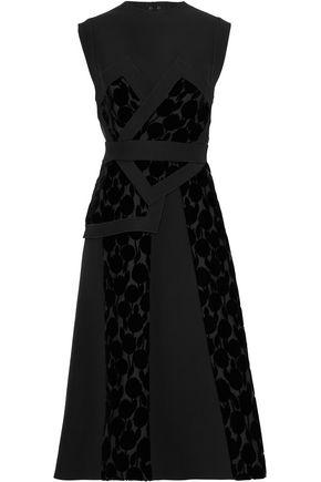 JIL SANDER Open-back chiffon-paneled flocked silk midi dress
