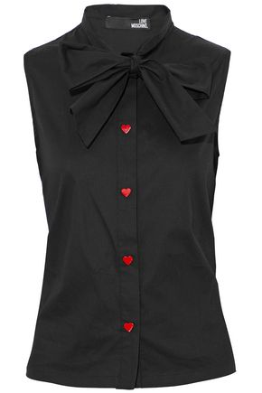 LOVE MOSCHINO Pussy bow cotton-poplin top