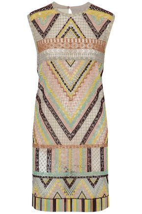 VALENTINO Fringe beaded tulle mini dress