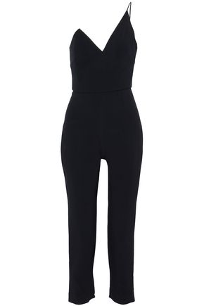 CUSHNIE ET OCHS Cropped one-shoulder cady jumpsuit