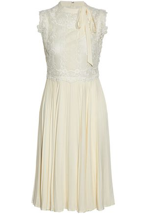 VALENTINO Cotton-blend lace-paneled pleated silk crepe de chine dress