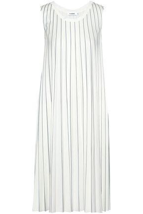 JIL SANDER Pleated striped cotton-blend jersey dress