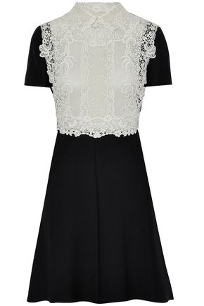 VALENTINO Lace-paneled wool and silk-blend mini dress