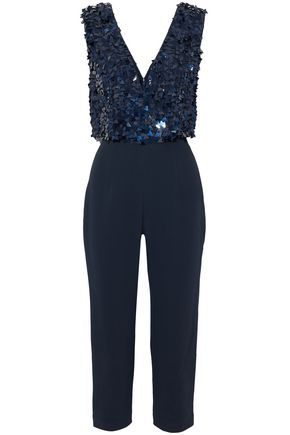 CUSHNIE ET OCHS Cropped sequined tulle-paneled crepe jumpsuit