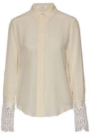CHLOÉ Guipure lace-trimmed silk-chiffon shirt