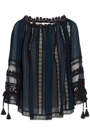 CHLOÉ Lace and tulle-paneled cotton-georgette blouse