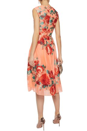 LELA ROSE Pleated embroidered organza dress