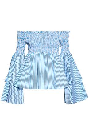 CAROLINE CONSTAS Off-the-shoulder striped shirred cotton top