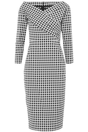 LELA ROSE Wrap-effect checked cotton-blend dress