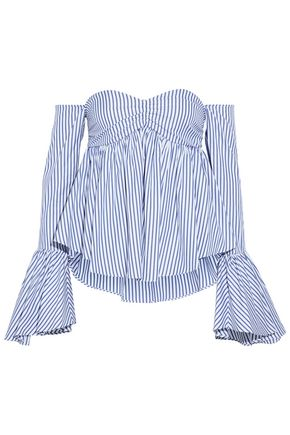 CAROLINE CONSTAS Off-the-shoulder striped cotton-poplin top