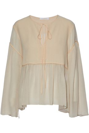CHLOÉ Cotton and silk-blend georgette top