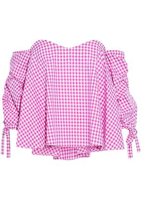 CAROLINE CONSTAS Off-the-shoulder ruched gingham cotton top