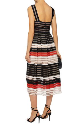 LELA ROSE Striped ribbed cotton-lattice midi dress