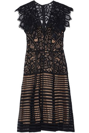 LELA ROSE Paneled lattice and guipure lace dress