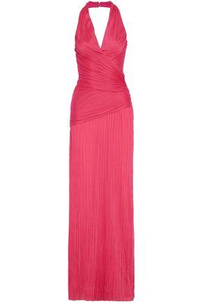 HALSTON HERITAGE Ruched plissé-jersey halterneck gown