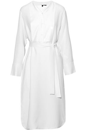 JOSEPH Paneled belted silk-crepe shirt dress