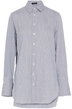 JOSEPH Striped stretch cotton-blend shirt