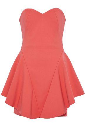 HALSTON HERITAGE Strapless ruffled crepe mini dress