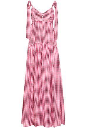 CAROLINE CONSTAS Bow-enhanced gingham cotton-poplin maxi dress