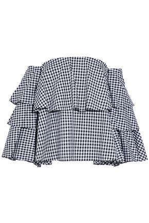 CAROLINE CONSTAS Off-the-shoulder ruffled gingham cotton-poplin top