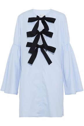 REBECCA VALLANCE Bow-detailed gathered cotton-oxford mini dress