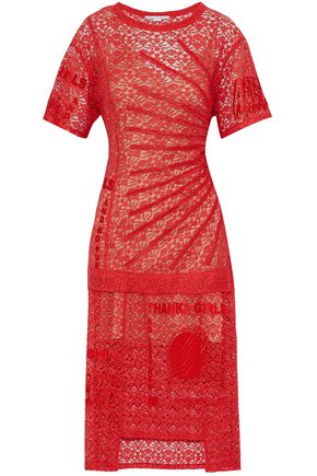 STELLA McCARTNEY Picot-trimmed embroidered cotton-blend lace midi dress