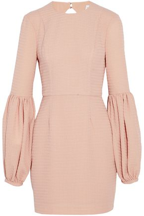 REBECCA VALLANCE Cutout gathered jacquard mini dress