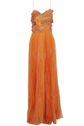 EMILIO PUCCI Appliquéd embroidered pleated silk-organza gown