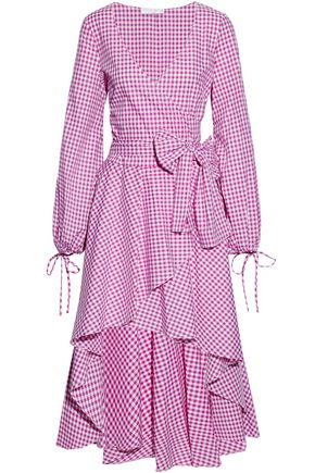 CAROLINE CONSTAS Wrap-effect ruffled gingham cotton-poplin dress