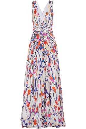 EMILIO PUCCI Twist-front pleated printed silk crepe de chine gown