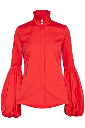CAROLINE CONSTAS Ruffle-trimmed gathered cotton-blend poplin shirt