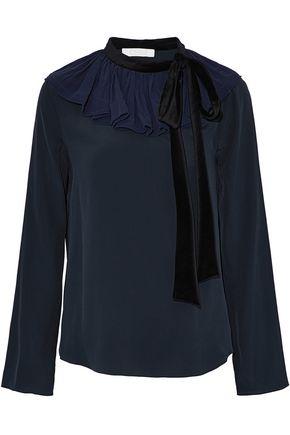 CHLOÉ Velvet pussy-bow ruffled crepe-trimmed silk blouse