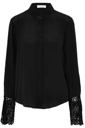 CHLOÉ Guipure lace-paneled silk shirt
