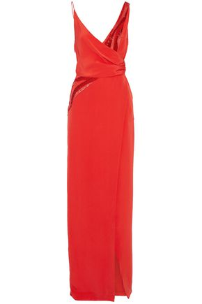 EMILIO PUCCI Wrap-effect embellished silk-crepe gown