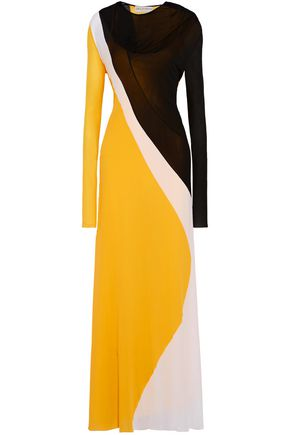 EMILIO PUCCI Color-block crepe de chine gown