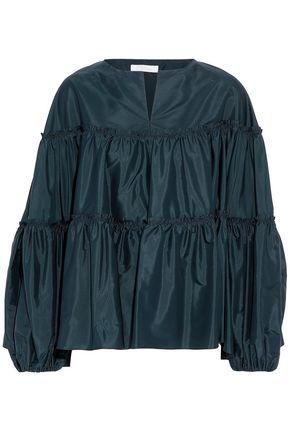 CHLOÉ Tasseled gathered silk-satin blouse