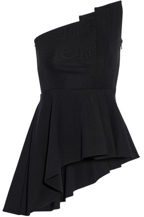 CUSHNIE ET OCHS Strapless asymmetric pleated cady top