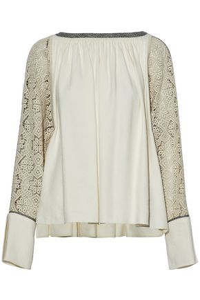 CHLOÉ Crochet-paneled pleated twill blouse