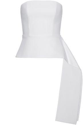 CUSHNIE ET OCHS Strapless draped stretch-ponte peplum top