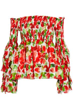 CAROLINE CONSTAS Off-the-shoulder printed ruffled silk top